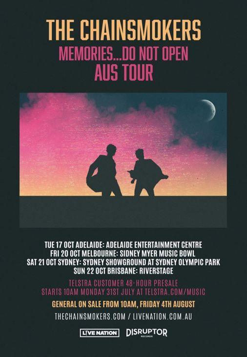 The Chainsmokers Australian Tour Poster
