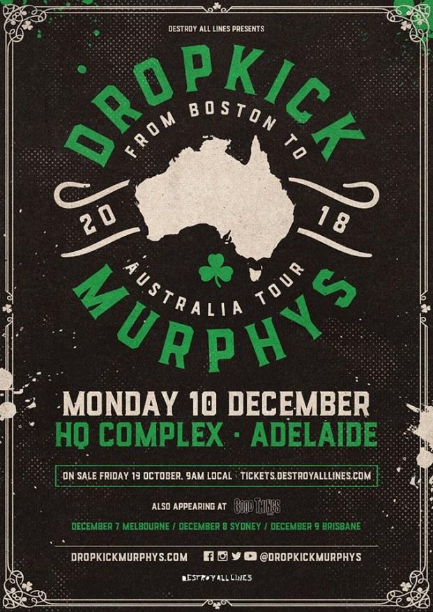 Dropkick Murphys Adelaide Tour Poster